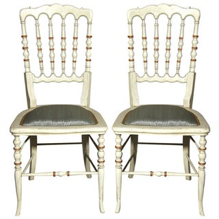 Spindle Back Painted Chair For Sale