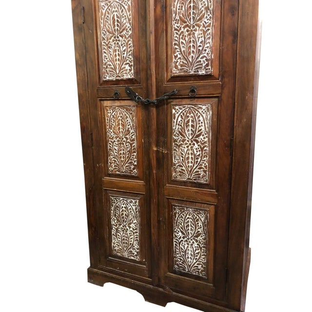 1920s Antique Rustic Handcrafted Floral Carving Cabinet For Sale - Image 5 of 8