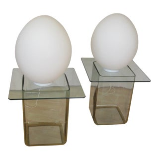 Koch and Lowy Opaque Glass Egg Lamps - a Pair For Sale