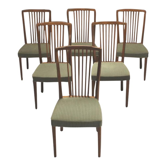 Danish Modern Spindle Back Dining Chairs - Set of 6 For Sale