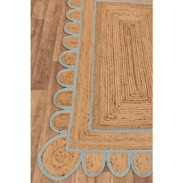 Modern Scallop Jute Classic Blue Hand Made Rug - 5'x7' For Sale - Image 3 of 4