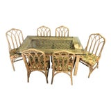 Image of 20th Century Boho Chic Henry Link Rattan Dining Set - 7 Pieces For Sale