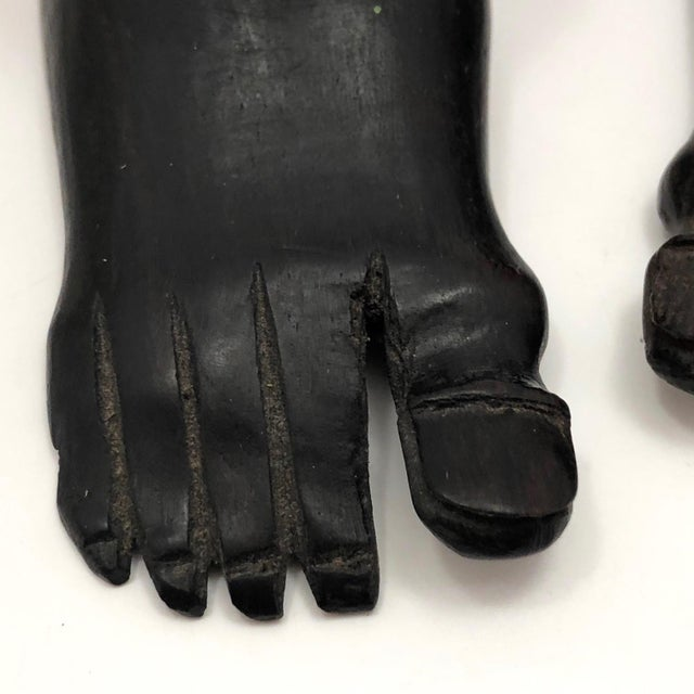 Vintage Hand-Carved Ebony Foot-Shaped Candleholders - a Pair For Sale In Boston - Image 6 of 12