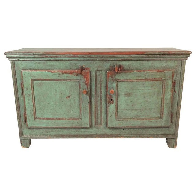 French Country Canadian Green Painted Side Cabinet For Sale - Image 13 of 13