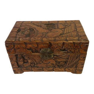 Antique Chinese Camphor Wood Dresser Box - Hand Carved For Sale