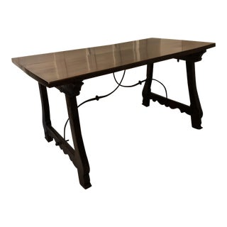 Antique Spanish Baroque Style Trestle Table For Sale