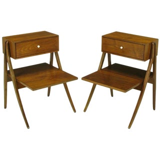 Rare Pair of Kipp Stewart & Stewart Mac Dougall Walnut Nightstands For Sale
