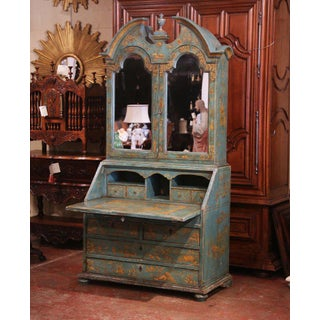 18th Century Italian Hand Painted Secretary Bookcase With Chinoiserie Decor Preview