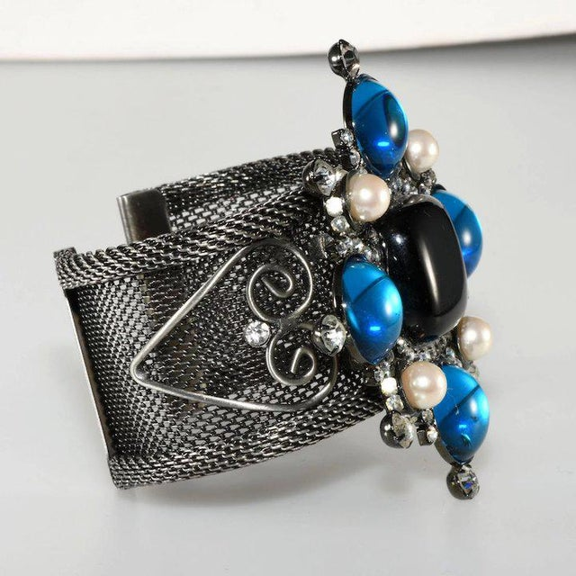 Modern Lawrence Vrba Rhinestone Statement Cuff Bracelet Maltese Cross Blue Black For Sale - Image 3 of 6