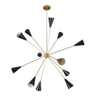 "Blueprint Lighting Sculptural Brass & Enamel ""Spore"" Chandelier, 2017 For Sale"