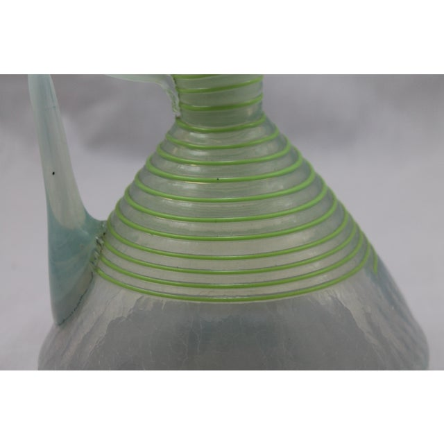 Art Deco Era Frederick Carder's Steuben Opalescent Threaded Art Glass Decanter For Sale - Image 5 of 11