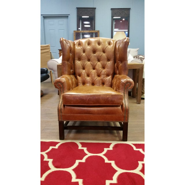 Refurbished Genuine Leather Wing Chair - Image 3 of 7