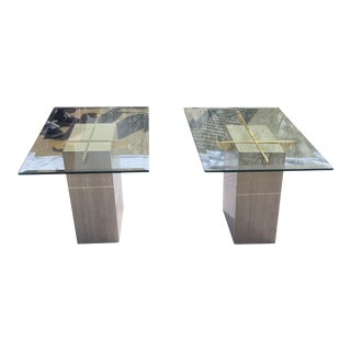 Vintage Travertine and Brass End Tables - a Pair For Sale
