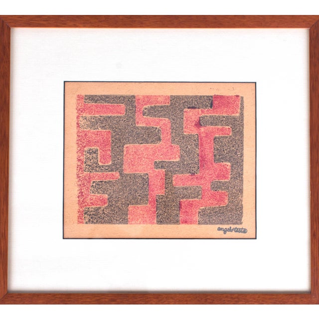Abstract 1950s Angelo Testa Signed Geometric Abstract Red & Yellow Prints - a Pair For Sale - Image 3 of 8