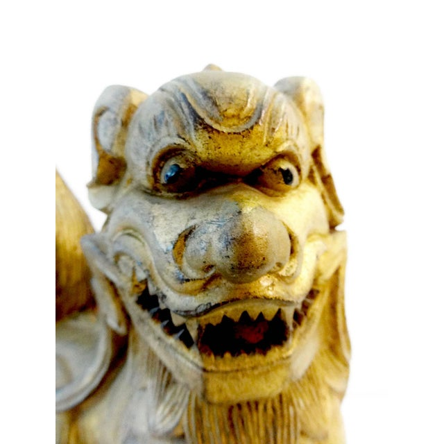 Gold Antique Statue of Temple / Foo Dog For Sale - Image 8 of 9