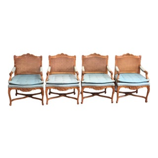 19th Century French Country Bergere Chairs - Set of 4 For Sale