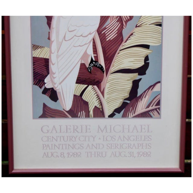 "1980s Vintage Art Gallery Advertisement ""Cockatoo"" Framed Poster For Sale - Image 5 of 11"