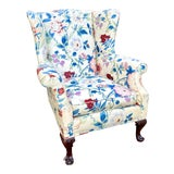 Image of Large Scale English Wingback Chair in Peony Chintz For Sale