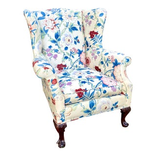 Large Scale English Wingback Chair in Peony Chintz For Sale