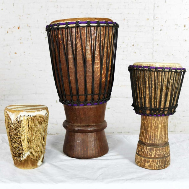 Trio of Tribal Drums Carved Wood and Animal Hide For Sale - Image 13 of 13