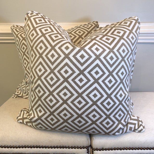 "Geometric Woven Cotton 22"" Pillows - a Pair For Sale In Greensboro - Image 6 of 6"