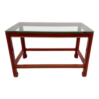 Vintage Kindel Asian Chinese, Chinoiserie-Style Orange Lacquer Tea Table For Sale