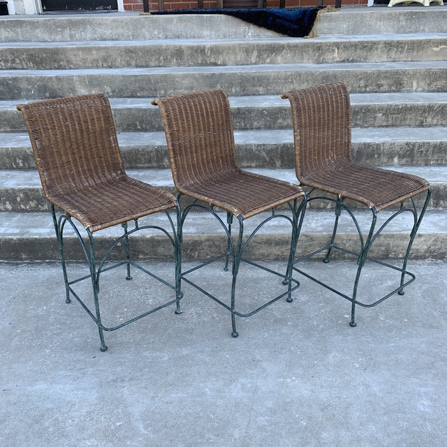 Vintage Wicker & Iron Bar Stools - Set of 3 For Sale - Image 12 of 12