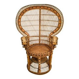 1970s Vintage Rattan Emmanuel Peacock Chair For Sale