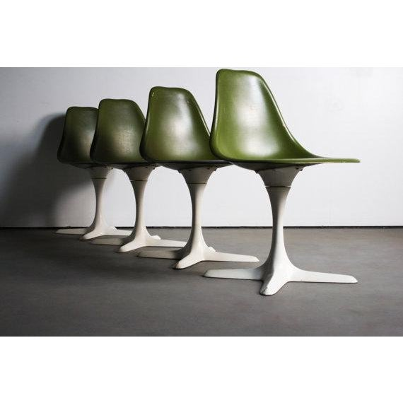 Avocado Green Burke Dining Chairs - Set of 4 - Image 3 of 5