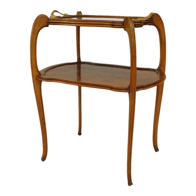 French Art Nouveau Walnut Tier Table For Sale