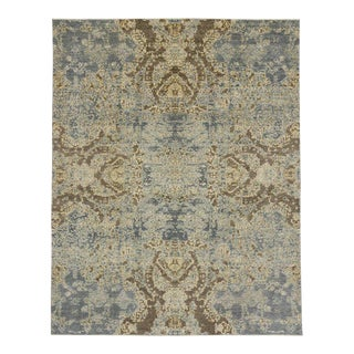 Abstract Rug With Transitional Style in Coastal Colors