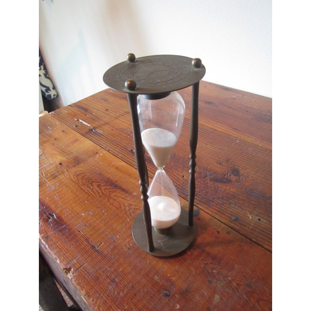 Mid-Century Modern Brass Hourglass Sand Timer For Sale - Image 5 of 7