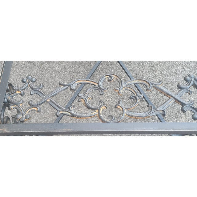 Heavy Wrought Iron Glass Top Coffee Table ~ Fabricated From Old French Gate, 50 X 29.5 ~1990s For Sale - Image 9 of 13