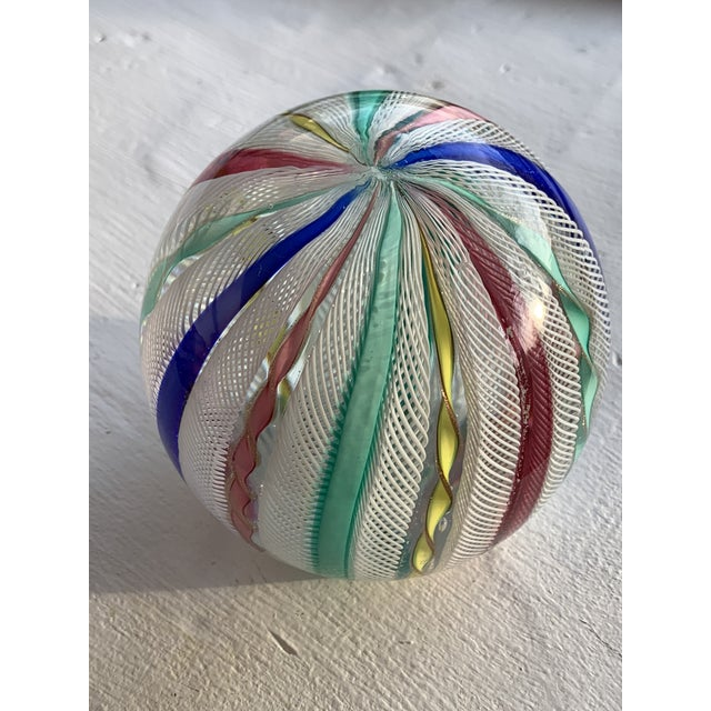 Italian Latticino Glass Italian Paperweight For Sale - Image 3 of 11