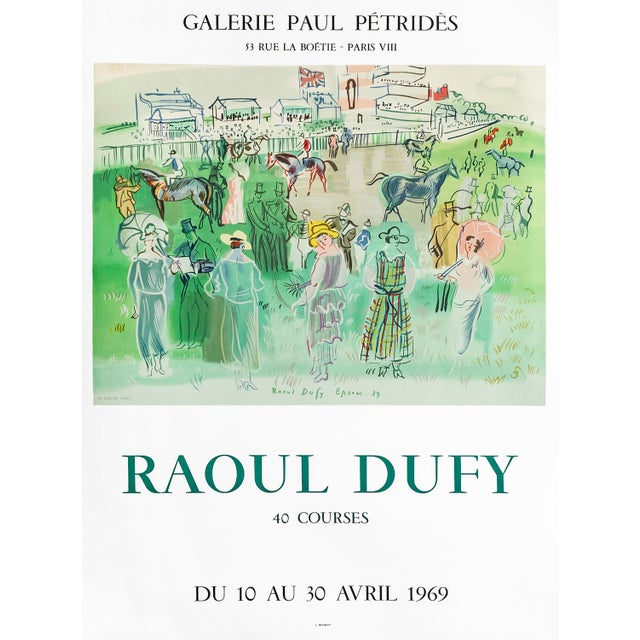 1960s 1969 French Raoul Dufy Exhibition Poster, Galerie Paul Petrides For Sale - Image 5 of 5