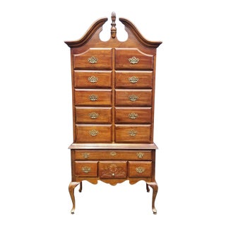 1980s Traditional American Drew Solid Mahogany Highboy For Sale