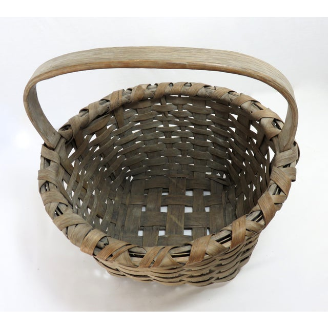 1900s Country Style Gray Basket For Sale In Boston - Image 6 of 13
