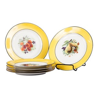 Set of Six French Ceramic Plates From Mehun Factory For Sale