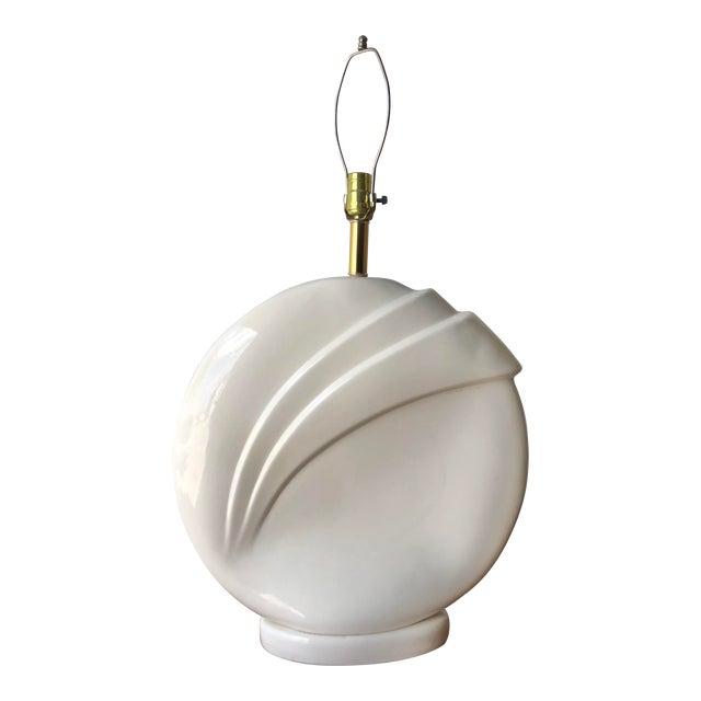 1980s Art Deco Revival White Ceramic Table Lamp. For Sale