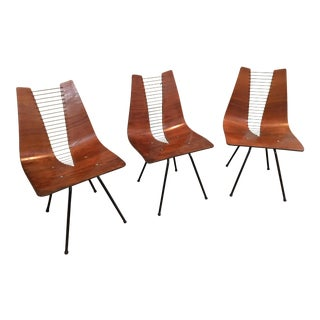 1950s Hans Bellmann Plywood & Rope Side Chairs - Set of 3
