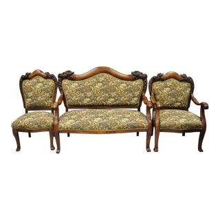 Victorian Empire Mahogany Dolphin Carved Parlor Set - 3 Piece For Sale
