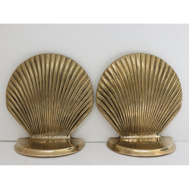 Vintage Brass Seashell Bookends - A Pair - Image 2 of 7