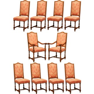 Late 20th Century French Carved Cherry Dining Room Set, 8 Chairs 2 Armchairs For Sale