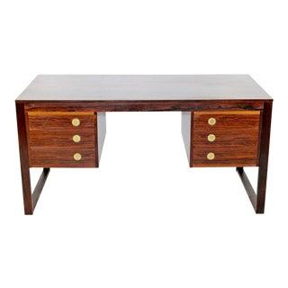 Mid Century Modern Rosewood Brass Desk Dyrlund Denmark 1960s Gunni Omann Attr. For Sale