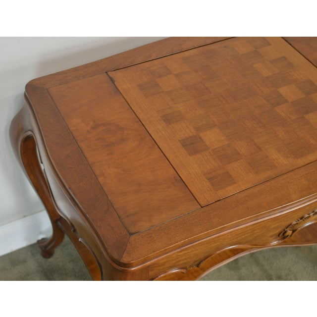 Brown Italian Provincial Louis XV Style Game Table W/ Chess Board Top For Sale - Image 8 of 13
