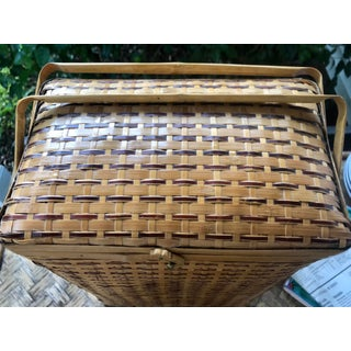 Vintage Natural Woven Bamboo Wicker Rattan Picnic Basket With Handles Preview