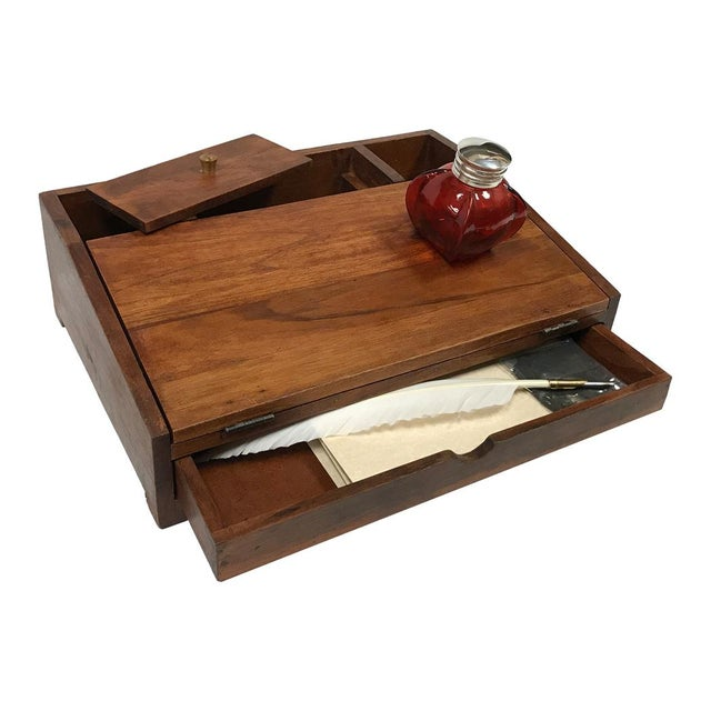 Colonial Reproduction Distressed Wood Portable Writing Set With Writing Accessories For Sale - Image 4 of 4