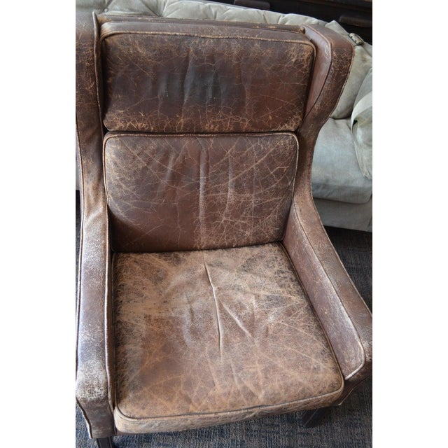 Brown Club Chair of Worn Leather From Edwardian England, Wingback, Early 20th Century For Sale - Image 8 of 13