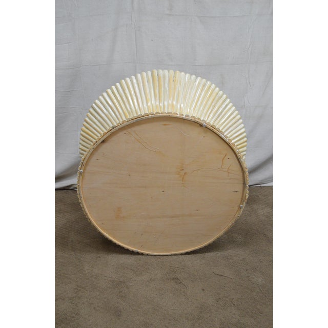 McGuire Style Mid Century Modern Round Wheat Sheaf Rattan Coffee Table - Image 10 of 13