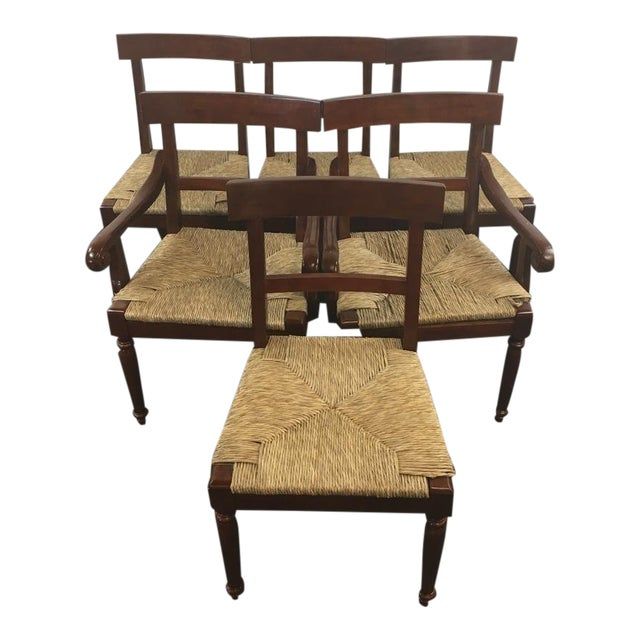 Vintage Carved Mahogany & Rush Seat Dining Chairs - Set of 6 - Image 1 of 4